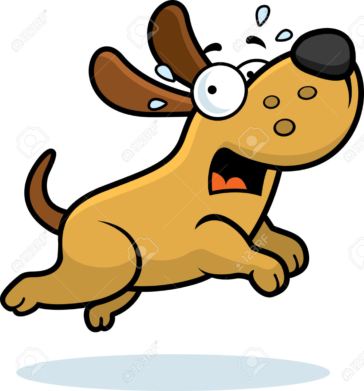 Scary small dog clipart image library library A Cartoon Illustration Of A Dog Running Away Scared. Royalty Free ... image library library
