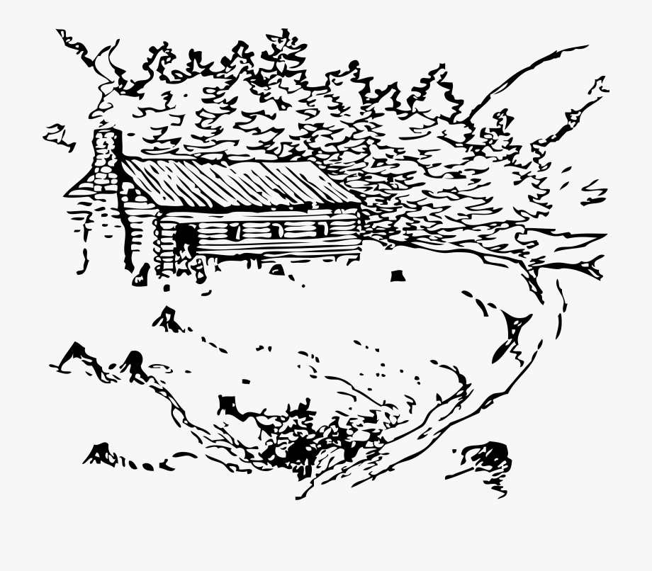 Scenic clipart free black and white free library Scenic Clipart Cabin In Woods - Cabin In The Woods Outline ... free library