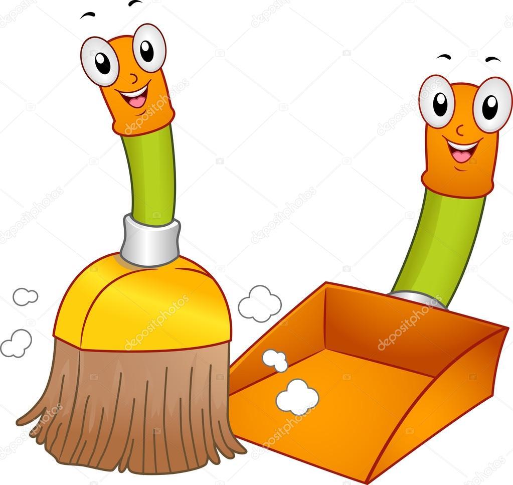 Schaufel und besen clipart jpg free stock Besen und Kehrblech Maskottchen — Stockfoto © lenmdp #13488053 jpg free stock