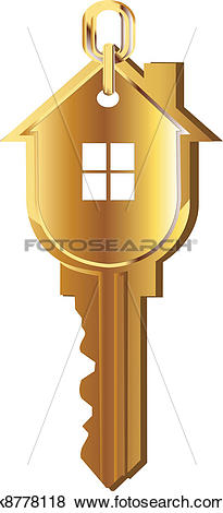 Schlssel haus clipart graphic library Stock Illustration of House key gold logo k8778118 - Search EPS ... graphic library