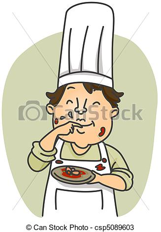 Schmeckt gut clipart clipart black and white stock Drawings of Taste Test - Illustration of a Dirty Chef Tasting the ... clipart black and white stock