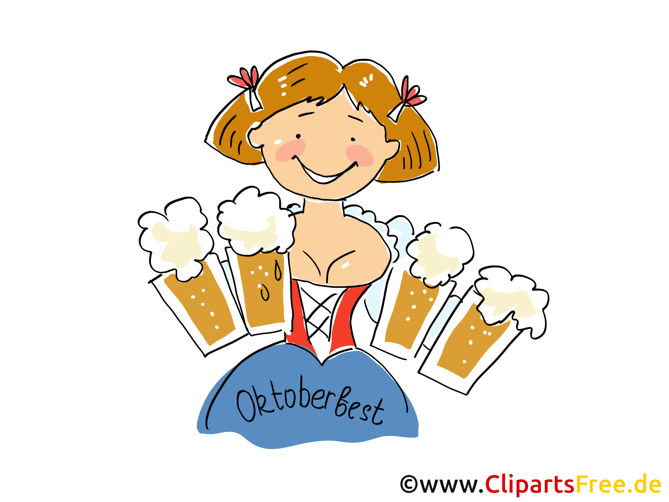 Schne frau clipart png stock Schöne Oktoberfest Frau mit Bier Clipart, Bild, Grafik ... png stock