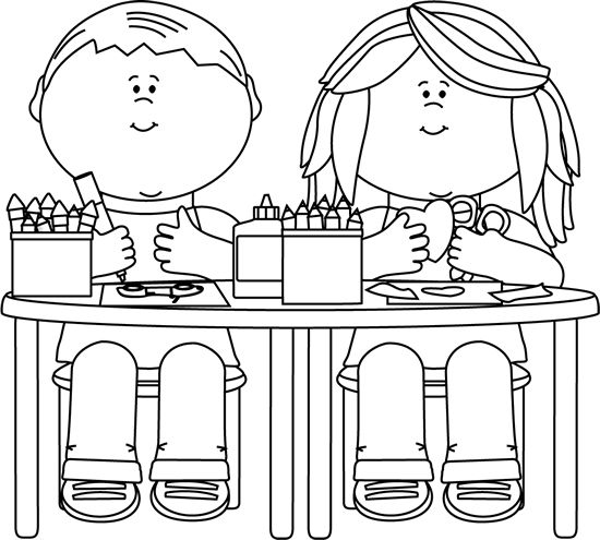 Sitting in class clipart black and white png library stock Art Room Clipart Black And White png library stock