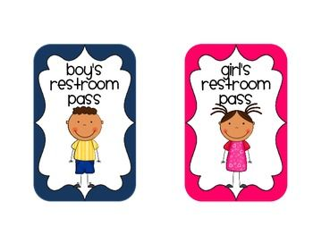 School bathroom girl clipart clipart black and white stock Restroom Pass FREEBIE | classroom organization | Bathroom ... clipart black and white stock