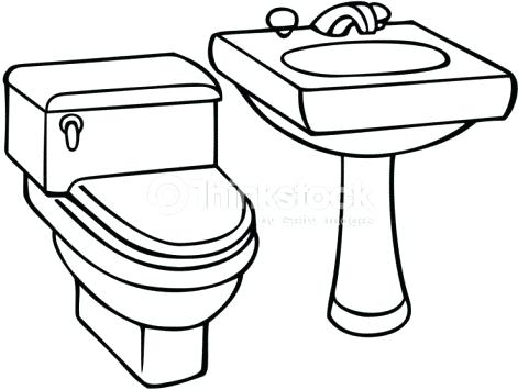 School bathroom line clipart black and white