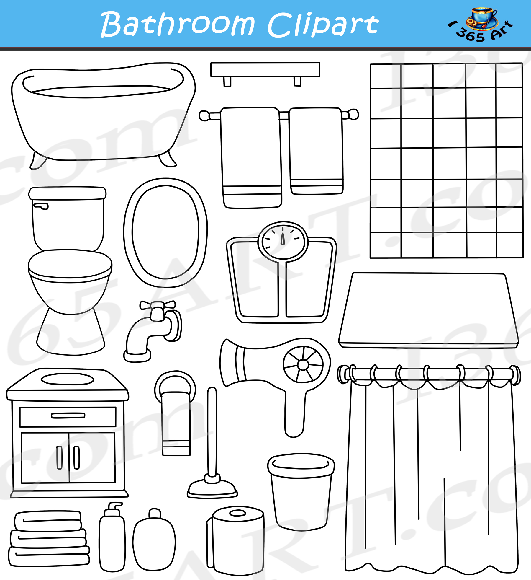 School bathroom line clipart black and white svg royalty free download Bathroom Clipart Set svg royalty free download