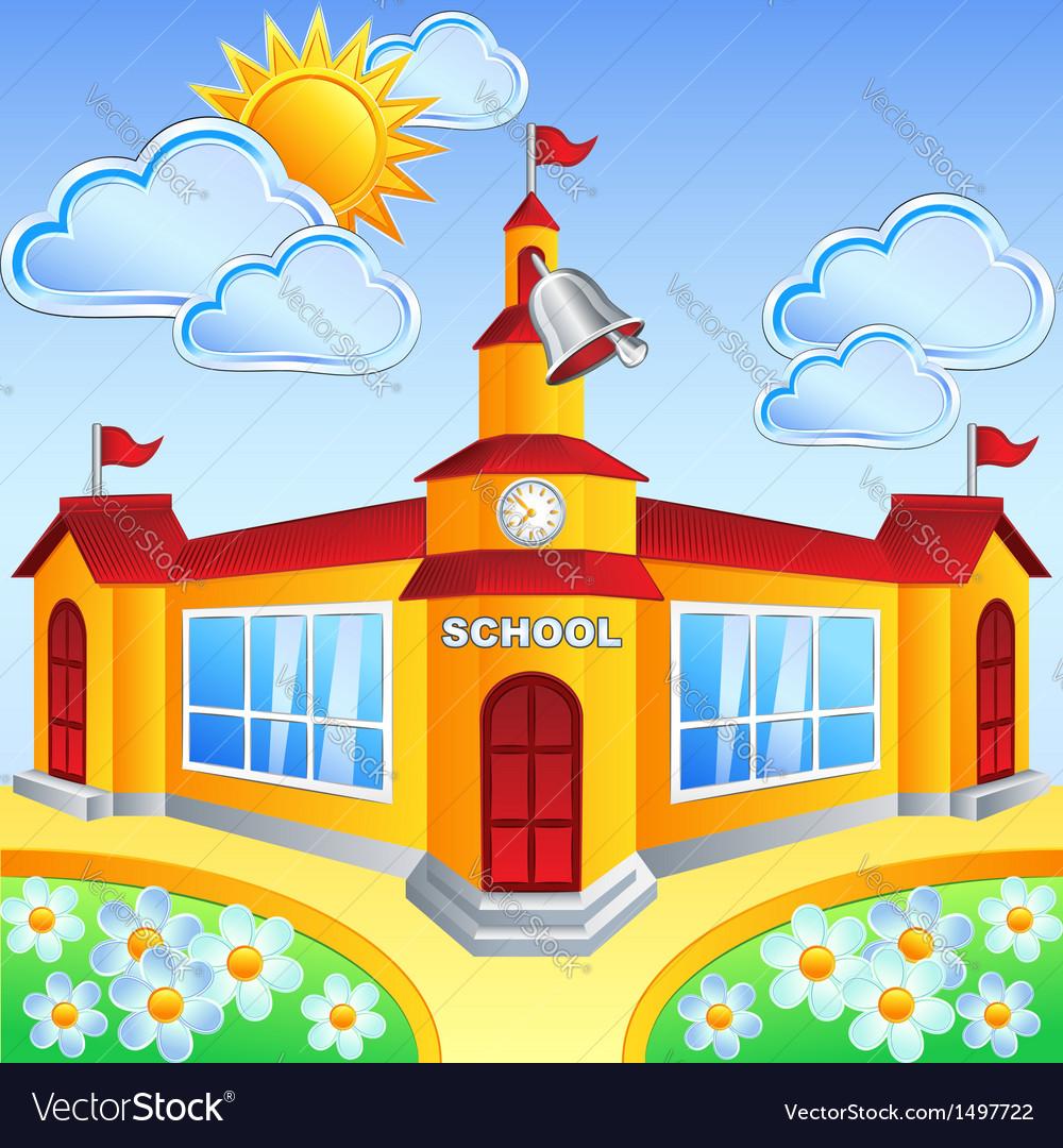 School building vector clipart banner stock Cartoon school building banner stock