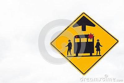 School bus flashing yellow light clipart vector royalty free stock Yellow Triangle School Bus Warning Stop Sign. Stock Photo - Image ... vector royalty free stock