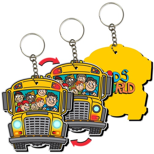 School bus flashing yellow light clipart vector freeuse stock Lenticular foam key chain with school bus shaped, yellow with ... vector freeuse stock
