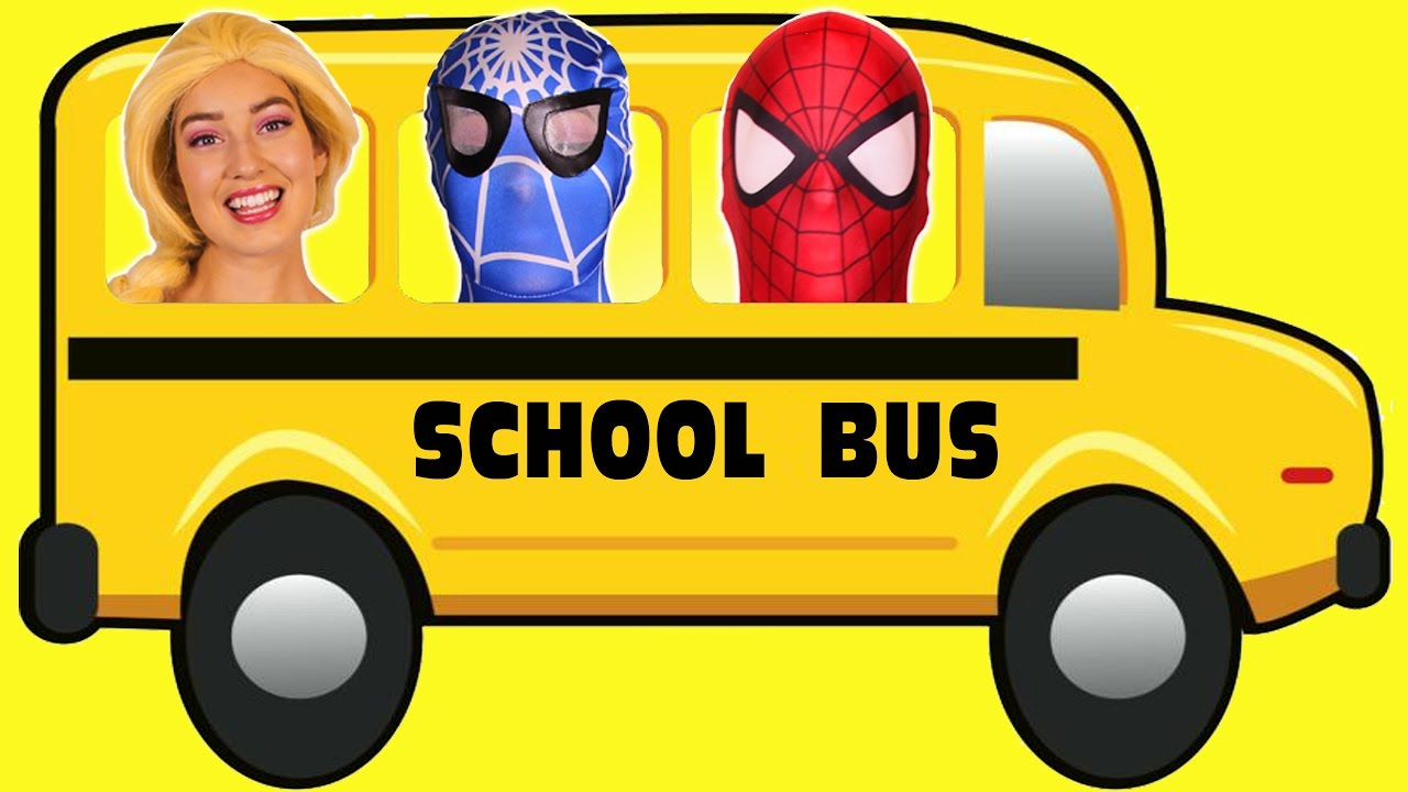 School bus superman clipart image black and white Spiderman & Frozen Elsa GO ON THE SCHOOL BUS! With Pink Spidergirl ... image black and white