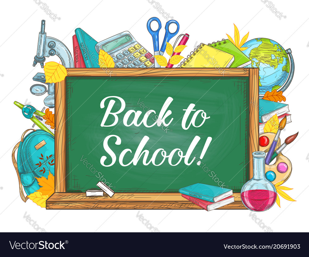 School chalk board clipart clipart transparent library Back to school chalkboard stationery poster clipart transparent library