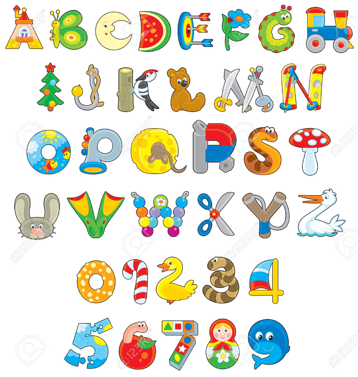 School children writing the alphabet clipart black and white English Alphabet And Numerals With Toys Royalty Free Cliparts ... black and white