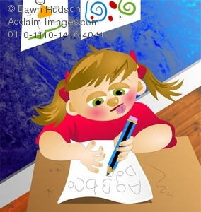 School children writing the alphabet clipart clipart freeuse library Cartoon Girl Child At Desk In Classroom Writing Her ABC's For a ... clipart freeuse library