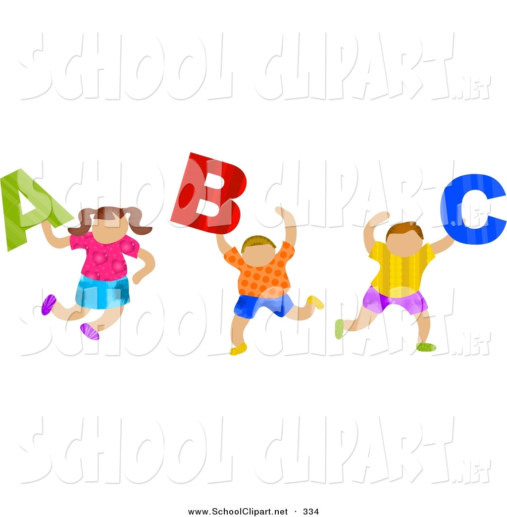 School clipart abc jpg library Clip Art of a Trio of School Children Carrying ABC Letters by ... jpg library