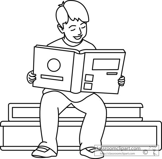 School clipart black and white children reading image freeuse 53+ Reading Clipart Black And White | ClipartLook image freeuse