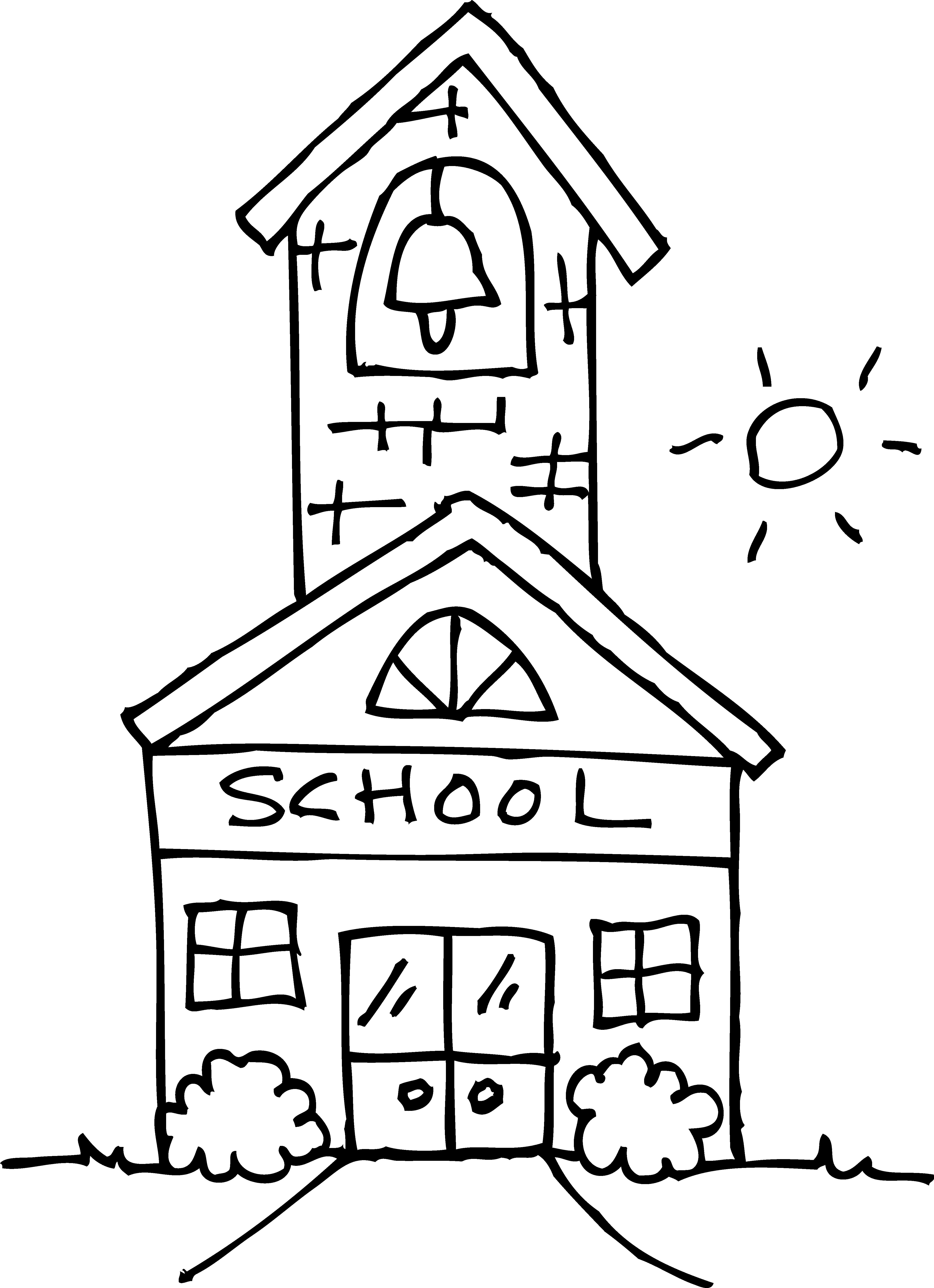 School clipart coloring page vector download Free School Building School Clipart School Color Building ... vector download