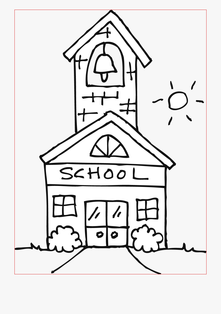 School clipart coloring page image transparent download Cute Schoolhouse Coloring Page Free Clip Art - School House ... image transparent download