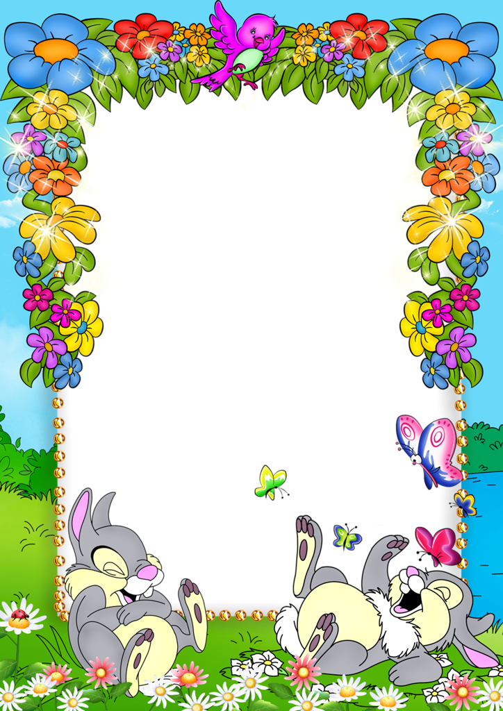 School frames clipart clip transparent stock Cute Blue Kids PNG Photo Frame with Flowers and Bunnies | Craft-Art ... clip transparent stock