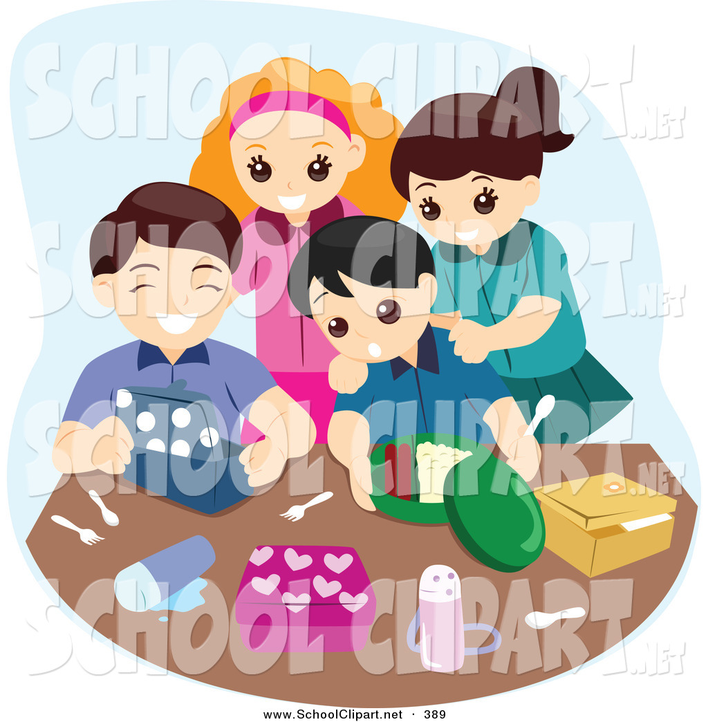 School clipart kids unpacking image transparent library Clip Art of a Group of Four Happy Kids Unpacking Their Lunch ... image transparent library