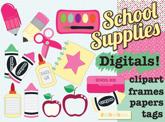 School clipart patterns image black and white School Supplies Digital Clipart, preschool clipart, back to school ... image black and white