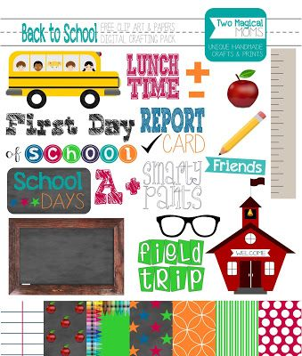 School clipart printables picture black and white stock FREE Back to School Clip Art and Papers- Digital Crafting Pack ... picture black and white stock