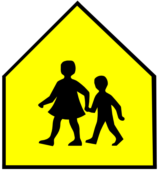 School signs clipart free Totetude School Crossing Sign Yellow Clip Art at Clker.com - vector ... free