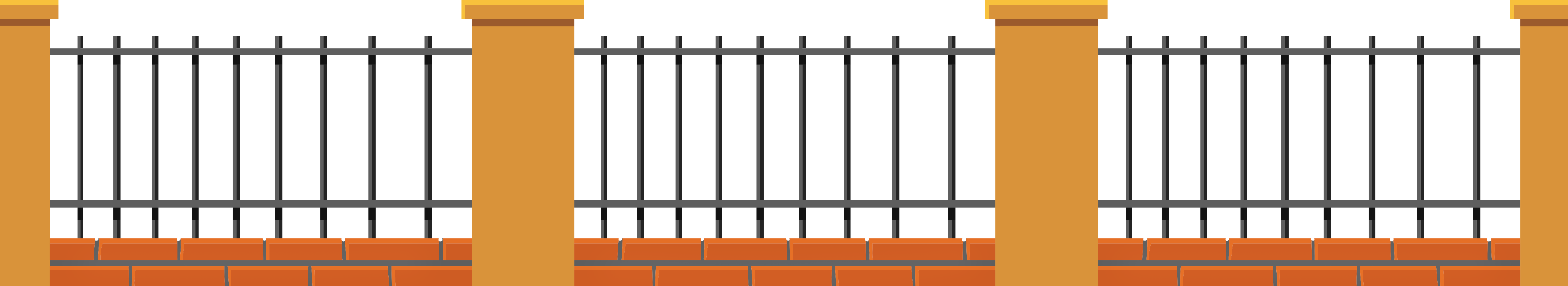 School fence clipart jpg black and white library Brick Fence PNG Image | Gallery Yopriceville - High-Quality Images ... jpg black and white library