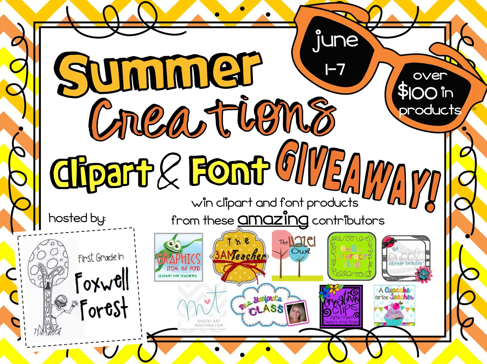 School give away clipart graphic royalty free stock Clipart and Font GIVEAWAY (over $100 in products!) - Foxwell ... graphic royalty free stock
