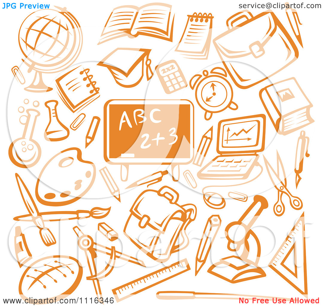 School graphics svg royalty free download Clipart Orange Chalkboard Surrounded By School Items - Royalty ... svg royalty free download