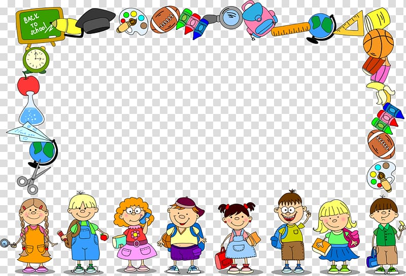 School illustrations and clipart transparent download Children and item illustrations frmae, School Frames ... transparent download