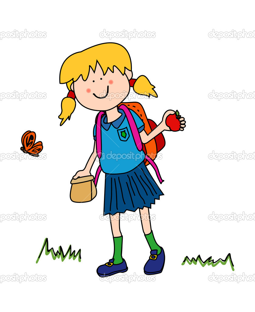 School kids character clipart jpg library Clipart images of school kids trudging to school with heavy ... jpg library