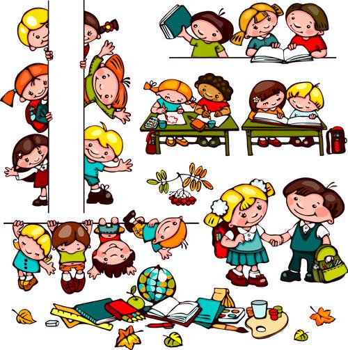School kids character clipart graphic freeuse free vector cartoon children summer beach vector. cartoon kids ... graphic freeuse