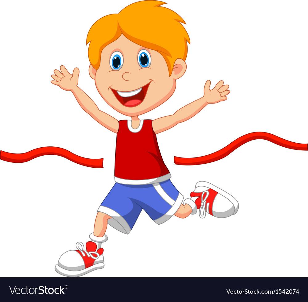 School kidsfinish line clipart vector royalty free download Cartoon boy ran to the finish line first vector royalty free download