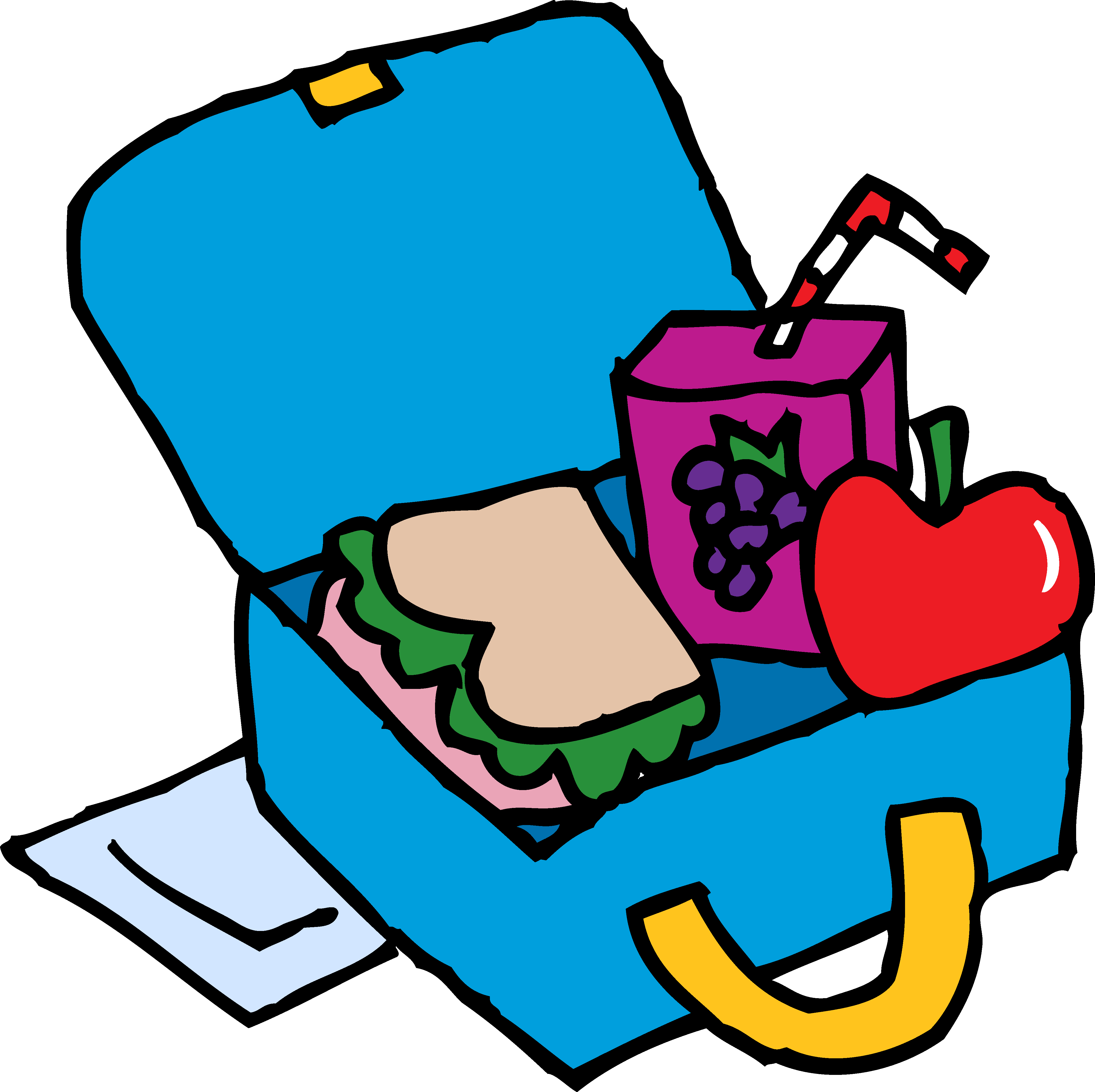 School lunch tray clipart png library stock Blue Lunch Box Clip Art with apple sandwich juice free image png library stock