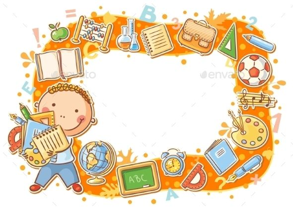 School objects clipart frame clip black and white library Cartoon Frame with School Objects | Educativo | School frame ... clip black and white library