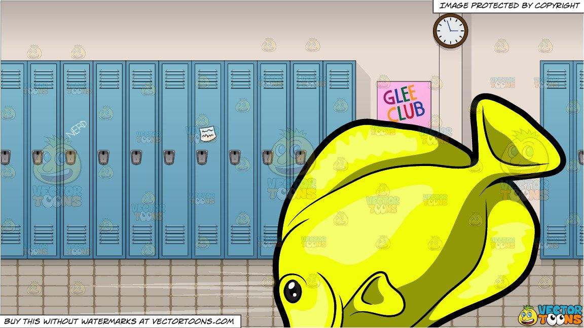 School of tang clipart clipart black and white A Yellow Tang Fish and School Hallway Background clipart black and white