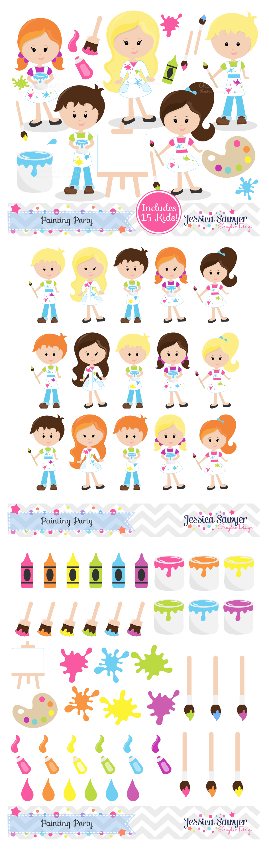 School party clipart image royalty free download Complete Art Party Clipart or Painting Clip art for personal and ... image royalty free download