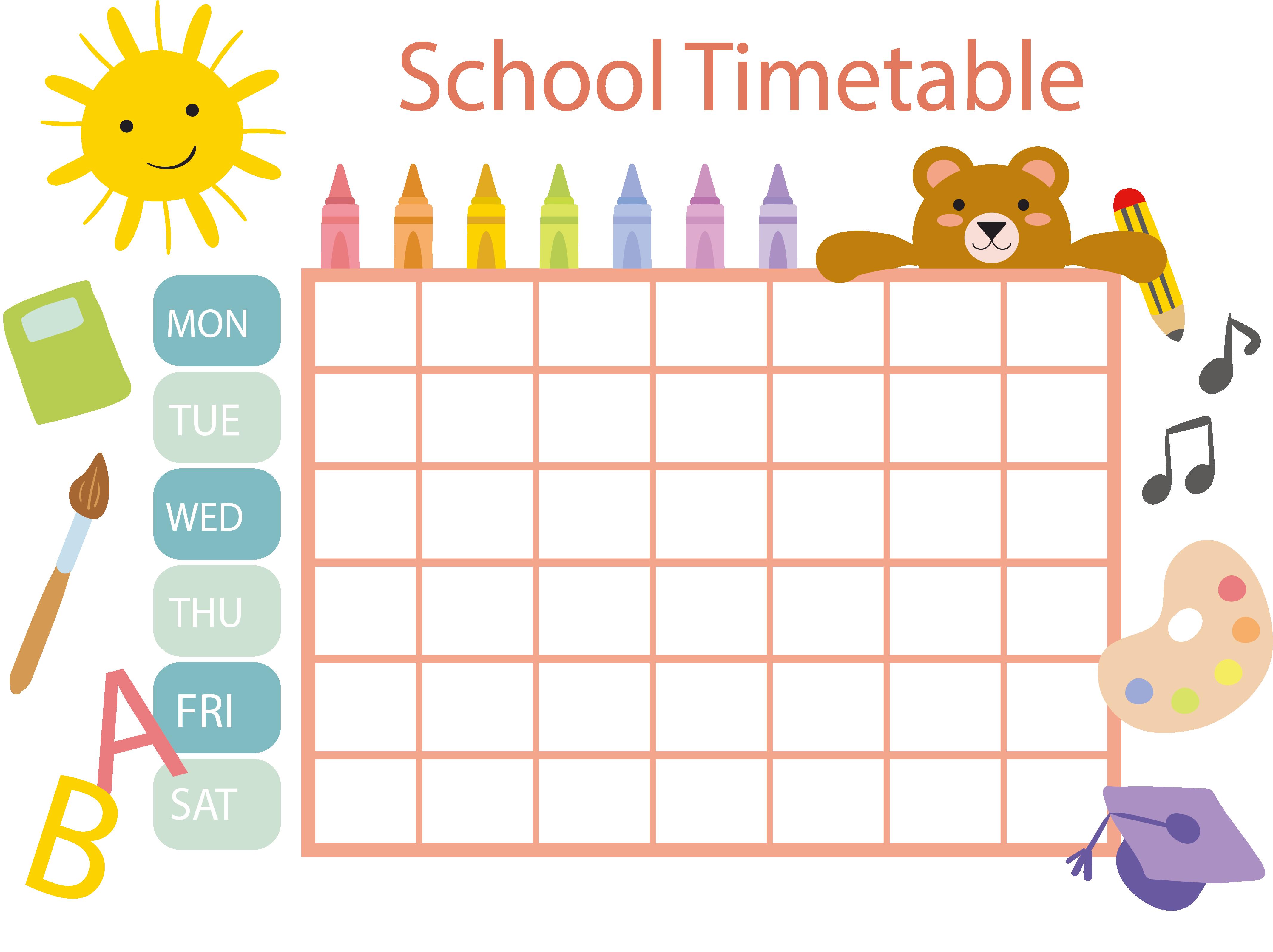School schedule clipart banner free download School timetable Schedule Template Clip art - Pastel crayon schedule ... banner free download