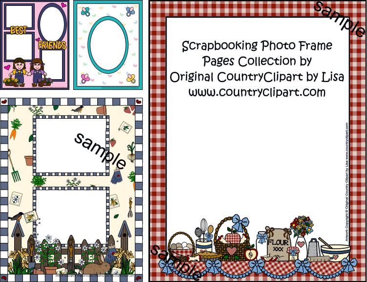 Scrapbook book clipart svg black and white Scrapbooking Clipart Photo Frame Pages Add Your Photos and Print svg black and white