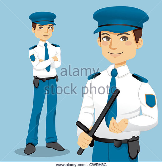 School security clipart clipart library Standing Policeman With Baton Stock Photos & Standing Policeman ... clipart library