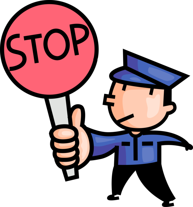School security guard clipart graphic library stock School Crossing Guard with Stop Sign - Vector Image graphic library stock