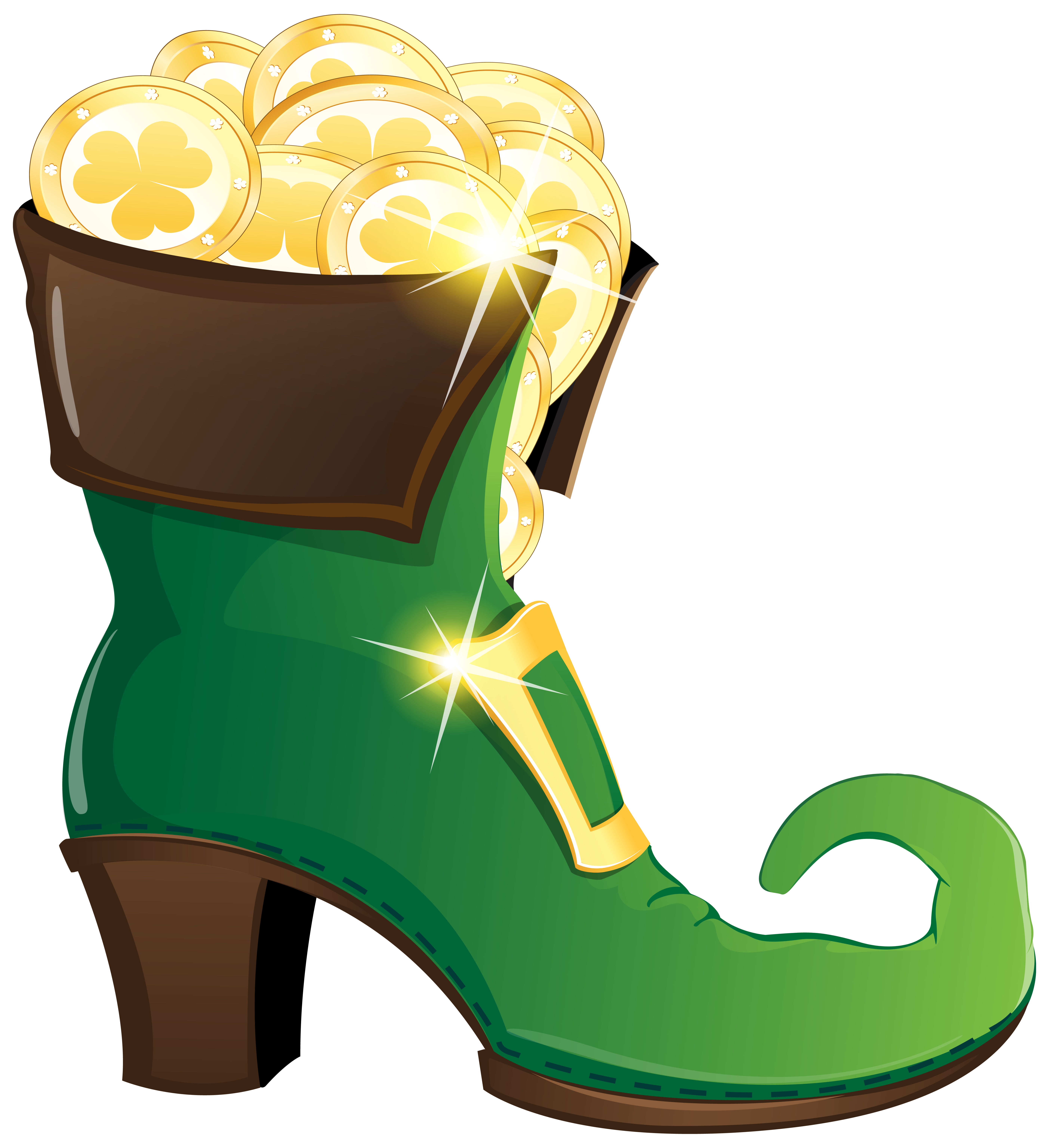 School shoes clipart clip art freeuse Leprechaun Shoe with Gold Coins PNG Clipart Image | Gallery ... clip art freeuse
