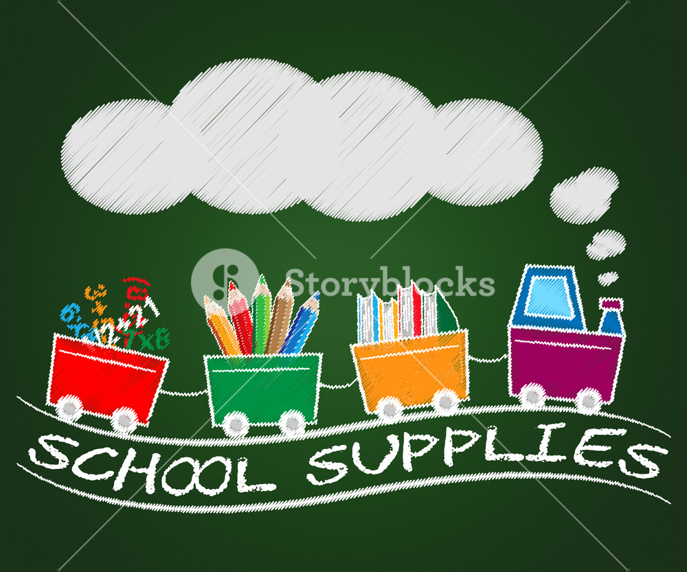 School supplies 3d clipart vector black and white download School Supplies Train Meaning Stationery Materials 3d ... vector black and white download