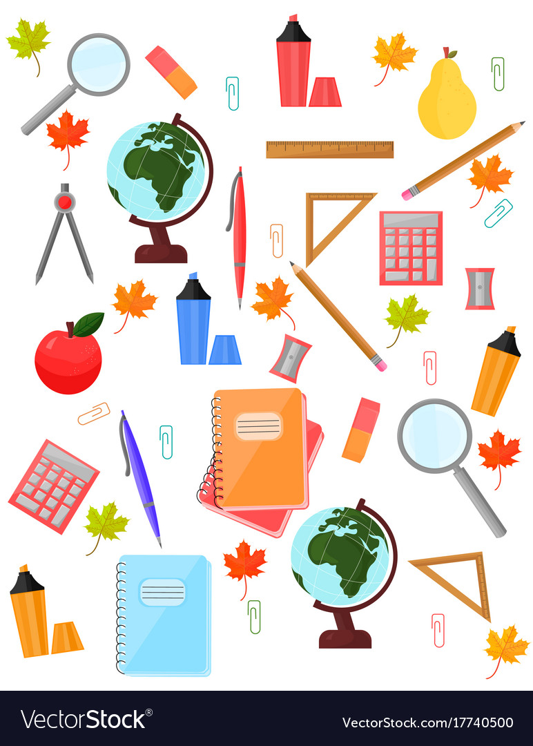 School supplies background clipart clip art freeuse download School supplies pattern background back to clip art freeuse download