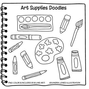 School supplies clipart black and white edge clipart stock School Supplies Clipart Doodles clipart stock