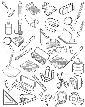 School supplies clipart black and white line jpg free library School Supplies Clip Art for Teachers - 30 Black and White School Supply  Icons jpg free library