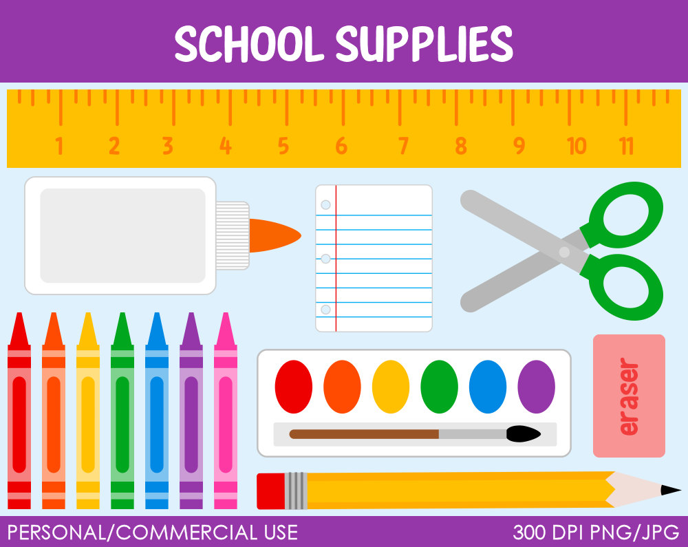 School supplies clipart graphics jpg freeuse library School Supplies Digital Graphics Clipart jpg freeuse library