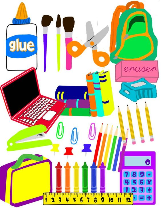 School supplies clipart image graphic freeuse School Supplies Clip Art | Back to, Colors and Classroom organization graphic freeuse