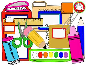 School supplu clipart picture black and white School Supplies Clipart {FRESH FREEBIE- 146 Clips} (Personal & Commercial  Use) picture black and white