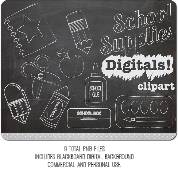 School supply chalkboard clipart picture black and white download Chalk Clipart School Supplies by Digibonbons on Creative ... picture black and white download